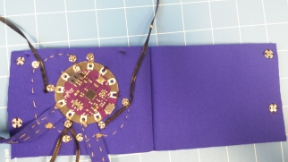 Construction of soft circuit with LED ribbon.